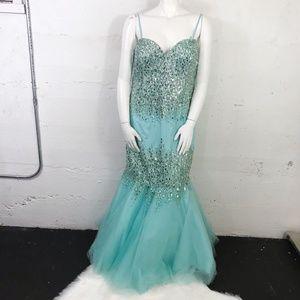 Terani Couture Pale Blue Beaded Plus Size Mermaid
